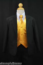 S1 BOY Formal Party Black Tuxedo Suit Yellow Vest & Tie 1 2 3 4 5 6 7 8 10 12 14