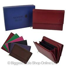 NEW Ladies LEATHER Flap Over + Coin Section PURSE WALLET by Hansson Nordic Blue