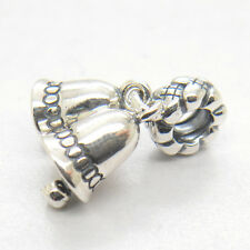 Authentic Genuine S925 Silver BELLS DANGLE CHARM bead CHRISTMAS gift