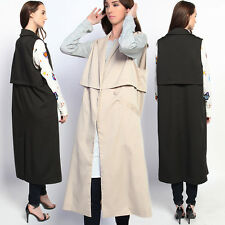 TheMogan Double Breasted Long Line Vest Sleeveless Trench Coat Jacket