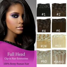 "18""20""24"" 100% Real Human Hair Full Head Clip in Remy Hair Extensions Full Head"