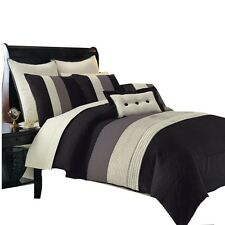 Hudson Black Luxury 12PC Comforter Set, Bed-Skirt,Decorative Pillows & Sheet Set