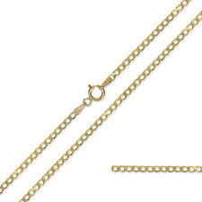 9CT YELLOW SOLID GOLD DIAMOND CUT CURB LINK CHAIN PENDANT NECKLACE GIFT BOXED