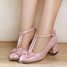 Sweet Women Ladies Kitten Heel T Strappy Pump Shoes Mary Jane Loafers Shoes Size