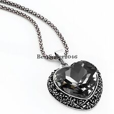 Retro Vintage Crystal Love Heart Design Pendant Sweater Necklace w Chain Gift