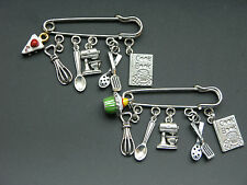 Baking theme charm pin brooch badge cooking whisk mixer cook book cupcake cake