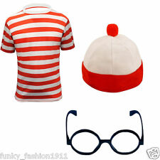 Boys Mens Wheres Book Week Red White Striped T-Shirt Fancy Dress Outfit Lot