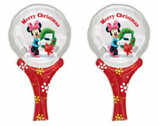 Pack 2 Minnie Mouse Christmas Inflate A Fun Hand Held Balloons Stocking Fillers