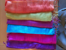 "100% Sheer Thai Raw Silk Scarf/Shawl/Wrap 22""x64"" Thailand Hand Made NEW"