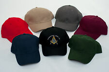 THREE Custom Embroidered Masonic Blue Lodge Baseball Hats Caps