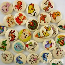 20/100pcs Assorted Wood Animals Cartoon Round Buttons Lot 15mm Craft/kids Sewing