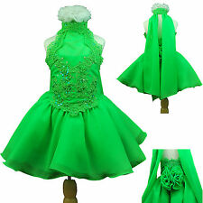 NEW  BABY TODDLER GIRL PAGEANT FORMAL PARTY SHORT DRESS LIME GREEN FUCHSIA PINK