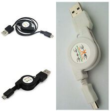 2X Micro USB A to USB 2.0 B Male Retractable Data Sync Charge Charger Cable Cord