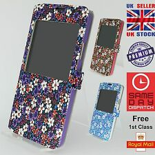 Multicolour Floral Window Magnetic Flip Case Cover For Samsung Galaxy Note 4