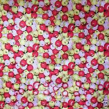 FFA-110 RED JALE PINK APPLES COTTON LINEN CANVAS FABRIC Metre/Yard