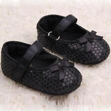 Black Mary Jane Infant Baby Girl Bling Sequin Soft Sole Shoes Newborn to 12M U54
