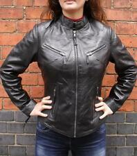 Womens Ladies Girls Soft Black Real Leather Biker Style Jacket