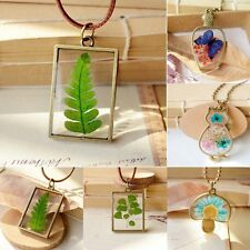 Handmade Dried Flower Butterfly Wish Glass Bottle Wax Cord Rope Pendant Necklace