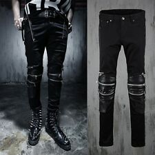 HOT Mens Classic Punk Rock Skinny Biker Coated Denim Multi Zipper Jeans Trousers