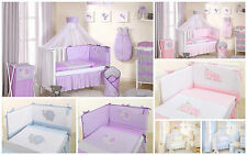 Luxury embroidered cot cotbed baby bedding set duvet bumper  3 4 5 6 pcs piece