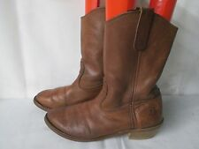 Work N Sport Brown Leather Western Cowboy Soft Toe Work Boots Size 9.5 D