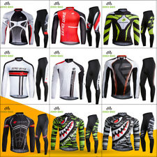 Mens Bike Bicycle Outdoor Riding Long Sleeves Cycling Jersey Suits Tights Pants