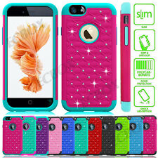 Armor Hybrid Rubber Bling Crystal Tough Case Cover For iPhone 4S 5S SE 6 6S Plus
