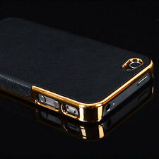 Luxury Leather Chrome Hard Back Case Cover For Apple iPhone 5 5S 6 6S SE Plus