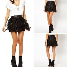 Girl Women Lady Faux Leather Fringe Cover High Waist A-Line Mini Skirt Dress M49