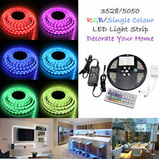 3528 5050 5M White/RGB 300 SMD 12V LED Flexible Strip Light Waterproof + Adapter