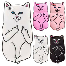 3D Silicon Porket Cat Kitty Mid-Finger Couple Case For iPhone 5S/6/6S/6S Plus