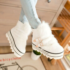 NEW Womens Creeper Platform Buckle Ladeis Ankle Boots Warm Fur Trim Snow Boots