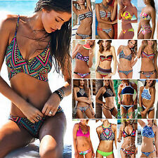 Womens Boho Aztec Strapless Halter Bikini Top & Bottom Set Swimwear Beachwear