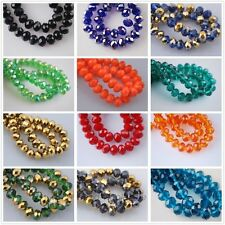 Wholesale 70Pcs Faceted Crystal Glass Loose Beads Rondelles Jewelry Findings 8mm