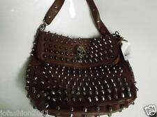 Leather bag Scull Handbag with Skull and Studs trendy Brown or Black