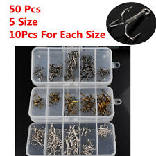 50Pcs/Box Mix Fishhook Carbon Steel Treble Jig Hooks Fishing Hooks 2/4/6/8/10#