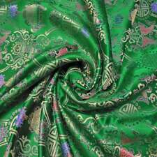 "br-624 Twins Fish Emerald Green Yard/Meter BROCADE TAPESTRY FABRIC 36"" W"