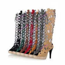 Stylish Hollow Out Womens Design Lace-up Boots Knee High Shoes US All Size