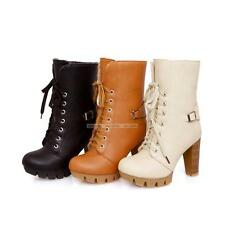 US4-10.5 Comfort Womens Ladies High Heels Casual Lace Up Shoes Ankle Boots