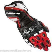 """SPIDI """"CARBO 3"""" MOTORCYCLE RACE TRACK DAY GLOVES RED WHITE BLACK """"CARBO3"""""""