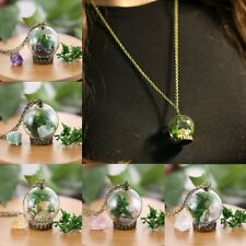Hot Handmade Natural Gem Dried Flower Bottle Glass Lucky Sweater Chain Necklace