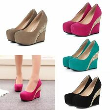 Womens Pointed Toe Stiletto Platforms Wedges High Heel Party Pumps Court Shoes