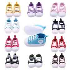 Baby Boy Girl Kid Soft Sole Shoes Sneaker 0-12Months Baby Laces Crib Shoes M64