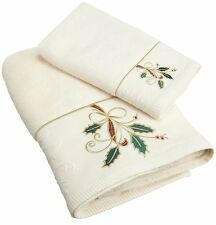 LENOX RIBBON & HOLLY IVORY HOLIDAY CHRISTMAS EMBROIDERED BATH & HAND TOWEL SET