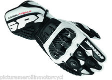 """LATEST SPIDI """"CARBO TRACK"""" LEATHER MOTORCYCLE RACE TRACK DAY GLOVES BLACK WHITE"""