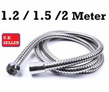 1.5m and 2m STAINLESS STEEL CHROME FLEXIBLE SHOWER HEAD HOSE BATHROOM PIPE