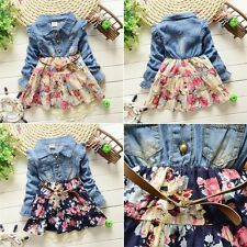 1-5 Years Kids Girls Long Sleeve Jeans Demin Shirt Dress Tutu Floral Skirts M23