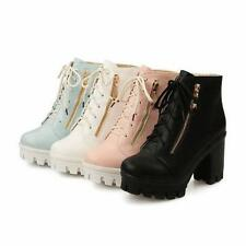 Ladies Womens Block heel Lace Up Platform Punk High Heel Ankle boots shoes
