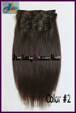 170g 200g 250g Clip in REMY 100%Real Human Hair Extensions,Dark Brown,Full Head