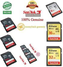 100%GENUINE SanDisk SD Card 8GB 16GB 32GB SDHC/XC Class 10 Ultra / Extreme